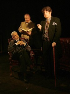 Scott R. Brill as Dr. Mortimer, Sam Mink as Sherlock Holmes, Raymond Stephens as Dr. Watson