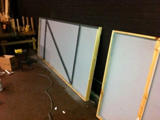 "Set construction for ""Mixed Couples"" at Westport Community Theatre"