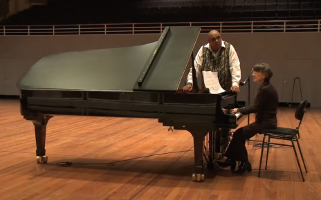 Judith Durham and Kutch Edwards sing Lyric for Contemporary Australia at a grand piano