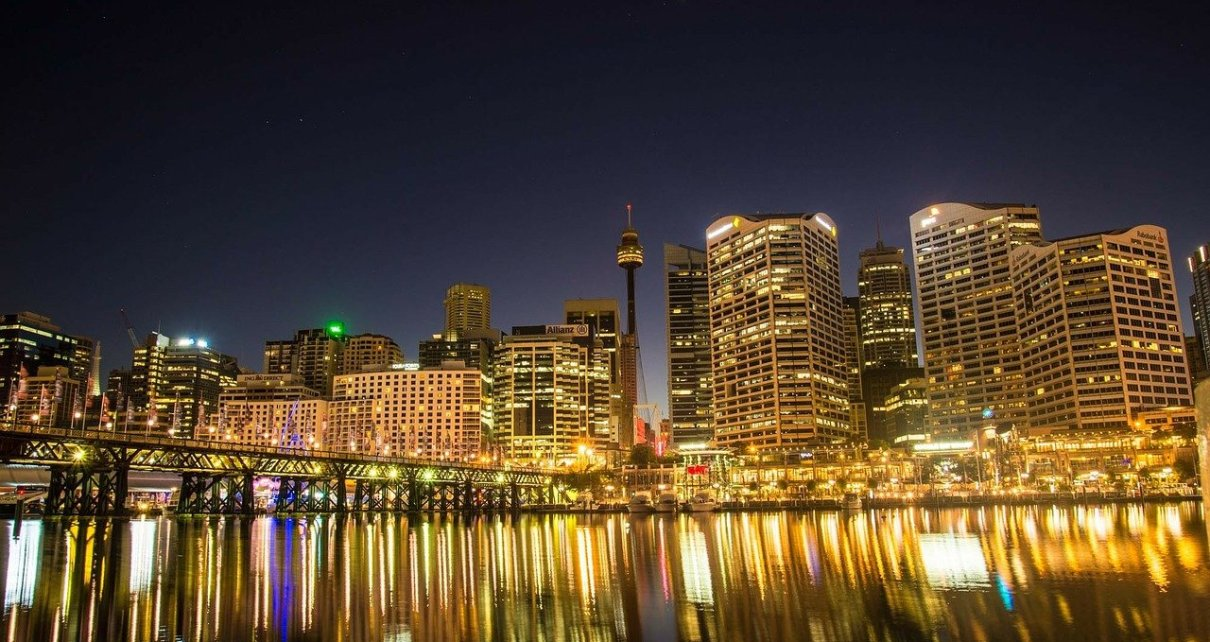 View of Sydney CBD from Darling Harbour at night