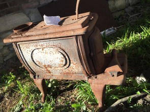 An old wood-burning stove.