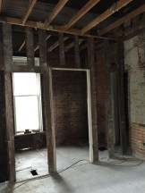 Existing bathroom, right off the kitchen.
