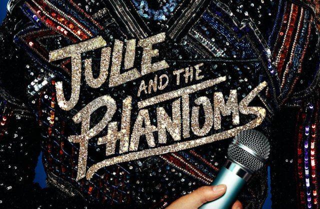 The show's title screen: the words 'Julie and the Phantoms' on the back of a jacket with a mic.