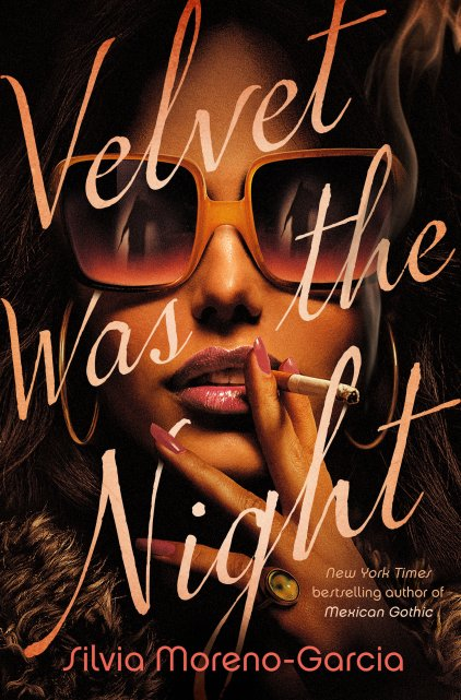 In warm sepia tones, a glamorous woman with luxurious brown hair faces us. Her lips and nails are painted pink, and she holds a cigarette like a movie star. Reflected in her huge rectangular sunglasses, there is a shadowy figure looming ahead of her. Book Cover.