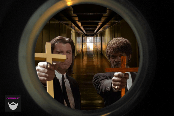 Bildnachweis:Pulp Fiction Reminder by Barstow Steve CC-BY 2.0, The Peephole Avenger by Katheribe Bowman CC-BY 2.0, #fcul #corridor #sunset by Filipe Saraiva CC-BY 2.0, IMGP0512 by Michael Kooiman CC-BY-SA 2.0 und holy cross catholic church redcliffe (15) by bertknot CC-BY-SA 2.0, montiert und bearbeitet von Simon Mallow.