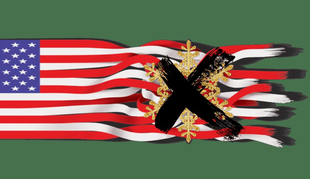 US Flag Tattered Snowflake