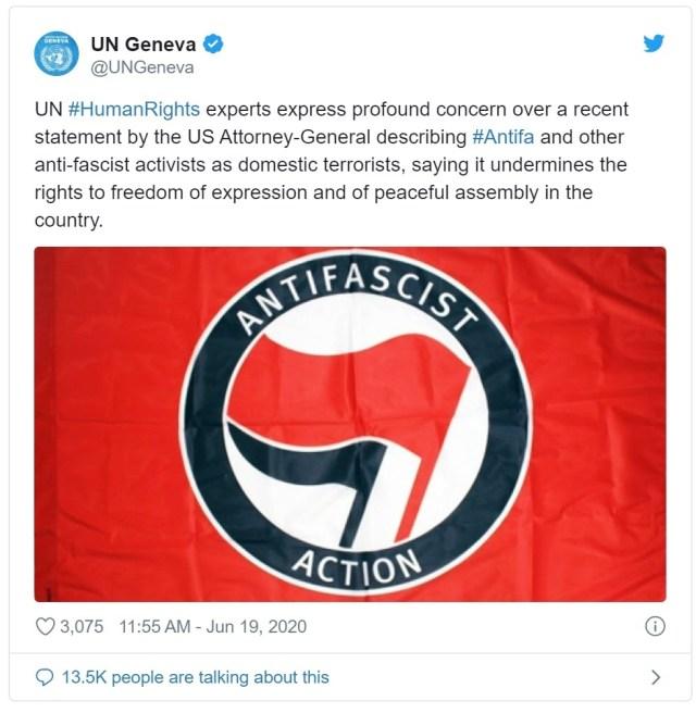 UN Posts Tweet in Support of Antifa