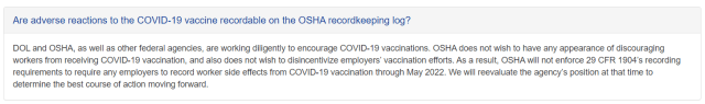 OSHA Places Pause on Record-keeping Requirements on Worker Side Effects From the COVID-19 Vaccinations Until May of 2022; Will Reevaluate at That Time