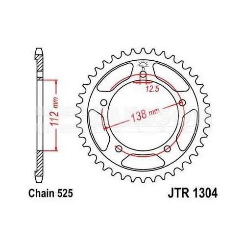 Zębatka tylna stalowa JT R245/2-42, 42Z, rozmiar 520