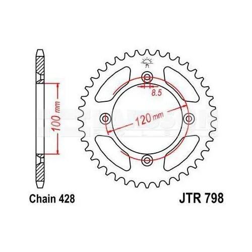 Zębatka tylna stalowa JT 798-47, 47Z, rozmiar 428 2302031
