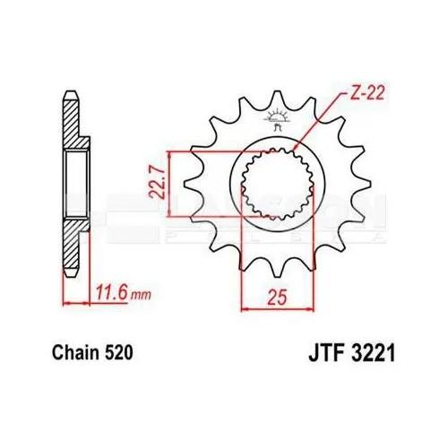 Zębatka tylna stalowa JT 29038-50, 50Z rozmiar 525 2302607