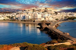 Naxos town at sunset. Greek Cyclades Islands Greece