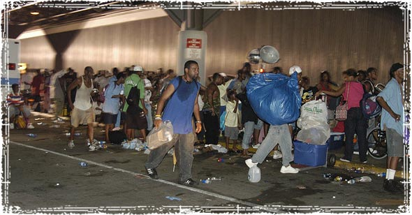 People evacuating and looking for supplies after a disaster