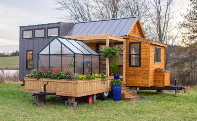 Unique Tiny Home With Attached Greenhouse Deck And Pergola