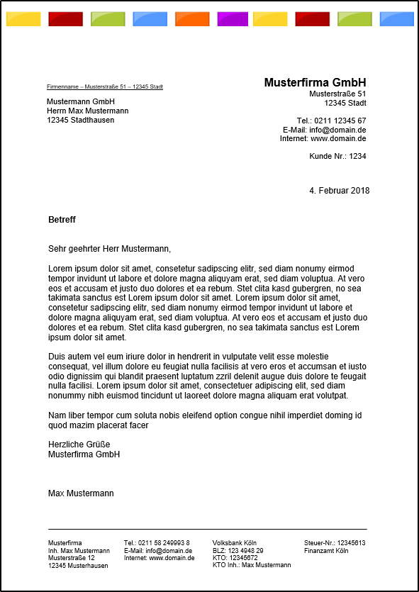 Vorlage Brief Für Fensterumschlag Din A4 . Kostenlose Word Briefkopf Vorlagen Herunterladen