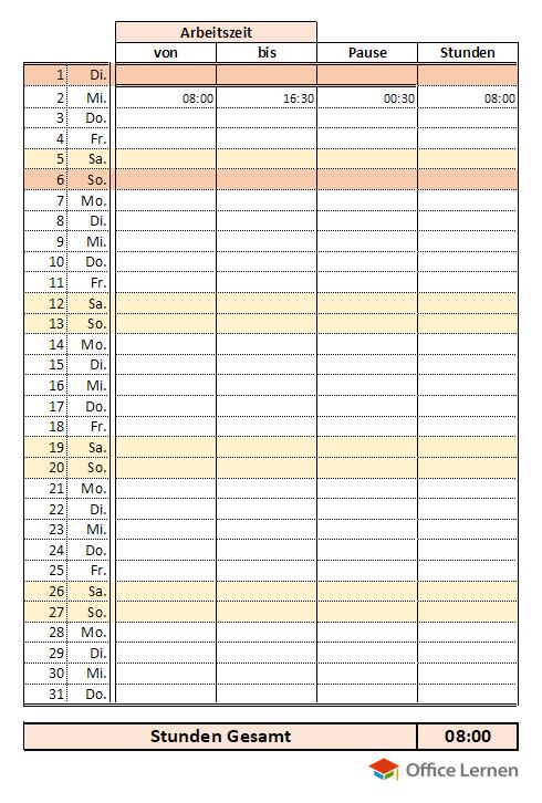 Monatlicher Arbeitstage - Rechner
