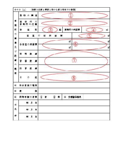 風俗営業許可申請書その2(A)記入例