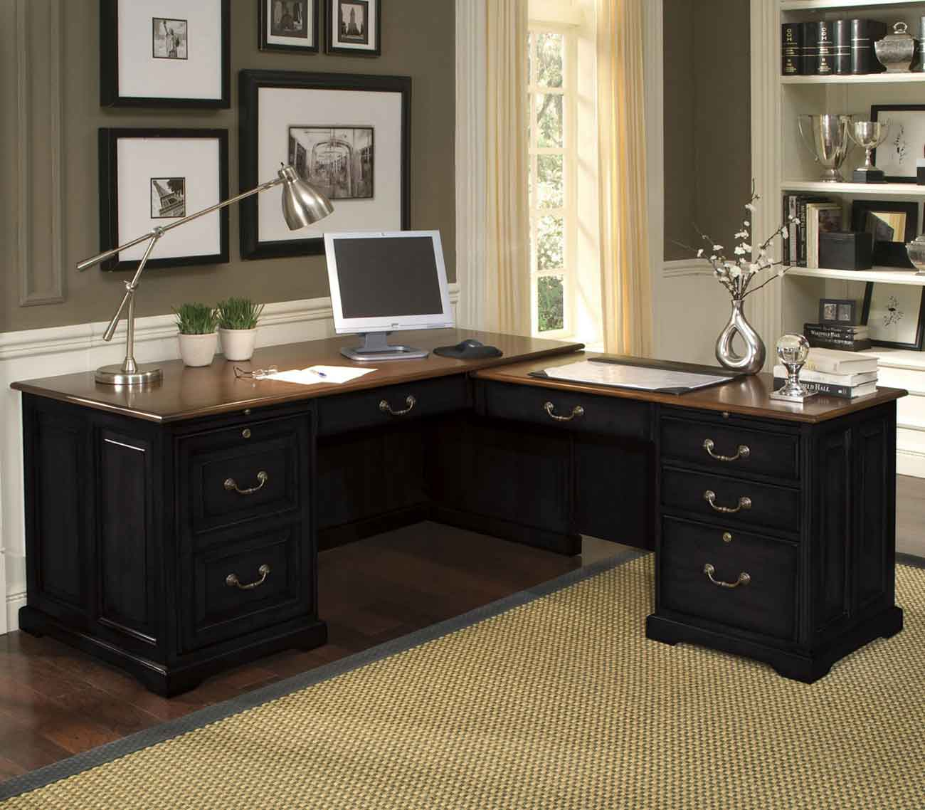 Black LShape Desk for Home Office