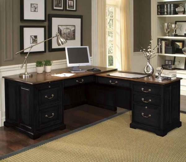 Black L-shaped Office Desk