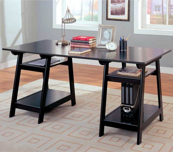 Double Pedestal Desk with Open Shelves