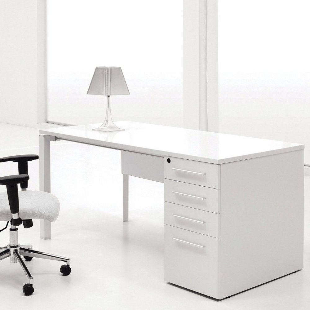White Computer Desk With Drawers