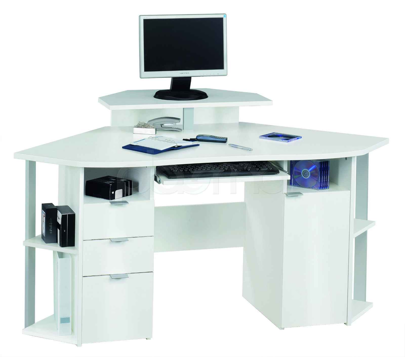 white computer desk with drawers  Office Furniture