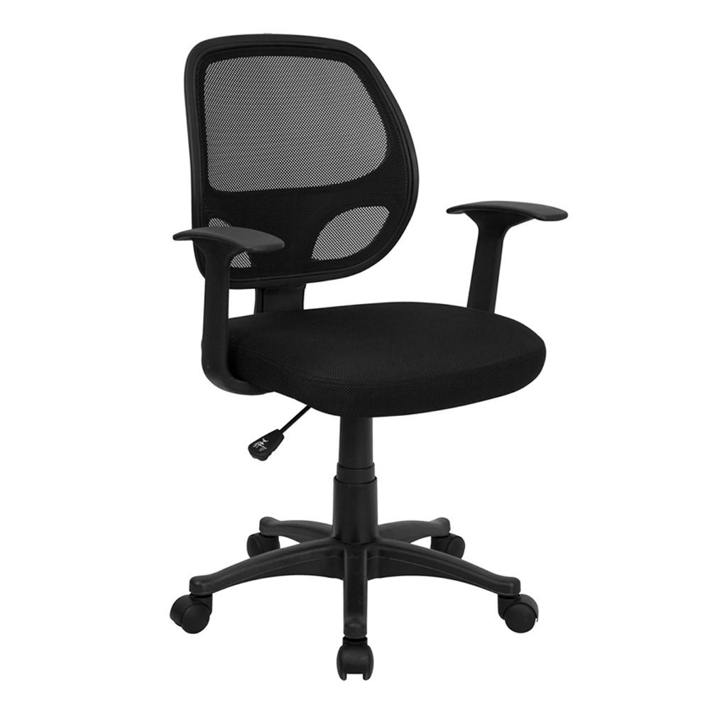 task chair without arms desk to help posture mid-back black mesh swivel review