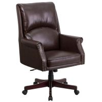 Brown Leather Desk Chair by Flash Furniture