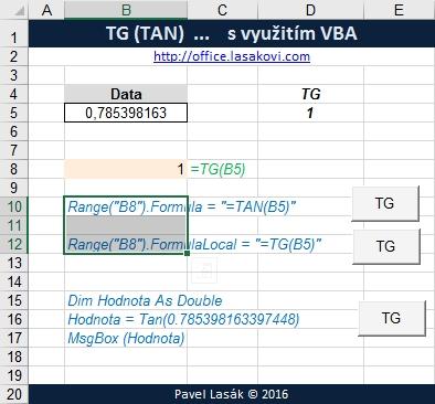 TG (TAN) - tangents úhlu - Excel | Školení konzultace