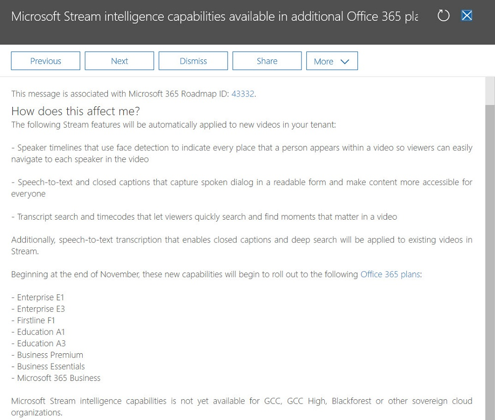 Stream Adds Intelligent Features for All Office 365