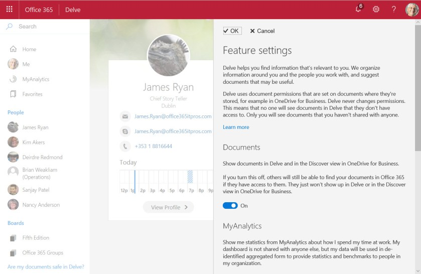 Setting Delve feature settings in Office 365