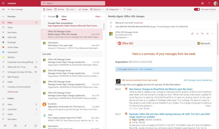 New Outlook Web Access (OWA, or Outlook on the Web) user interface