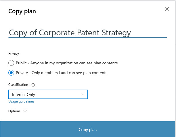 Setting up to copy a plan in Microsoft Planner