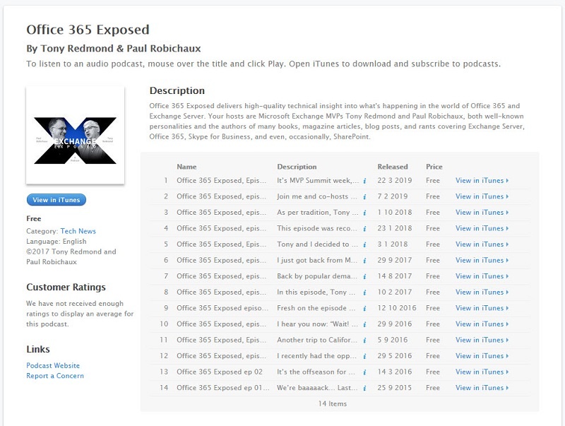 Office 365 Exposed podcast episodes in iTunes