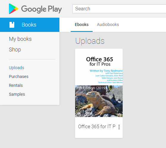 Office 365 for IT Pros in a Google Play library