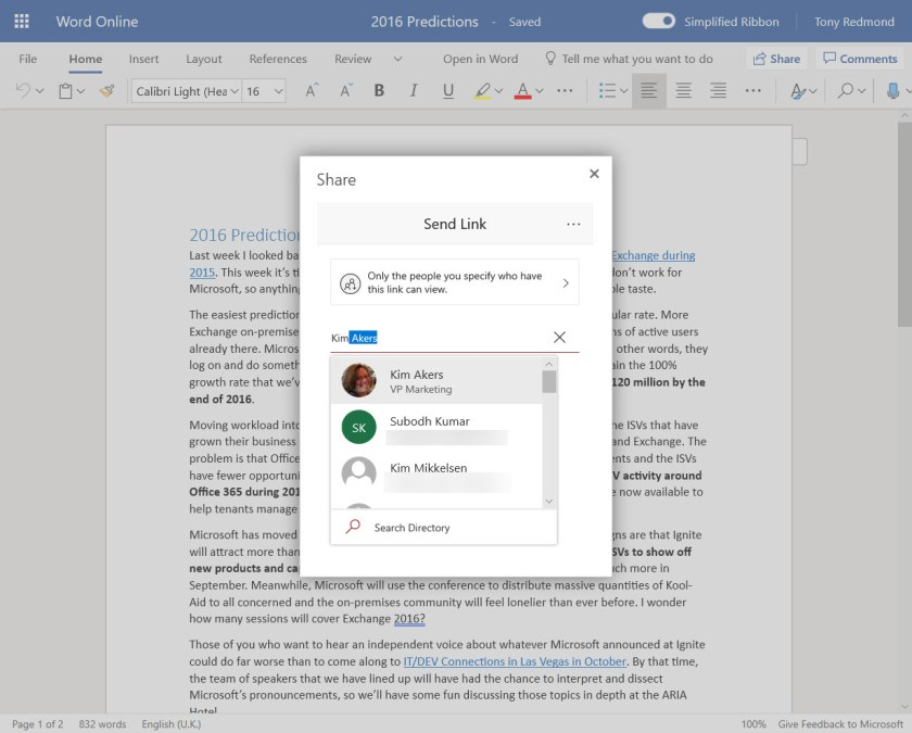 Selecting to share from a mixture of tenant users and LinkedIn contacts in Word Online