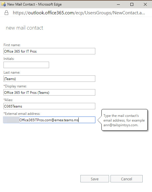 Creating an Exchange mail contact for a Teams channel