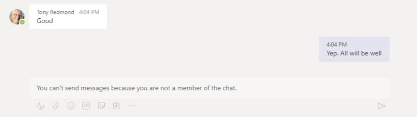 Old messages are visible, but the removed participant can't send any more messages