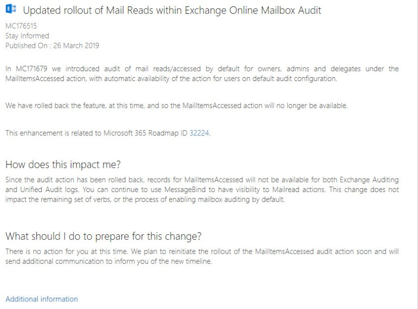 MC176515 Announces the halting of the rollout for the MailItemsAccessed Audit Record