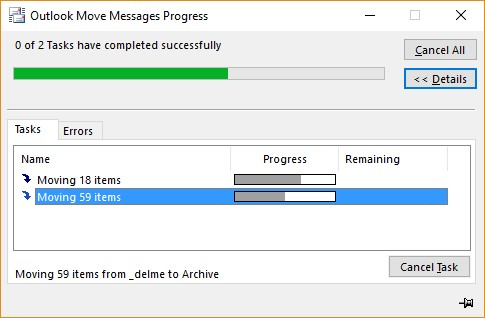 Outlook asynchronously moves items to multiple folders