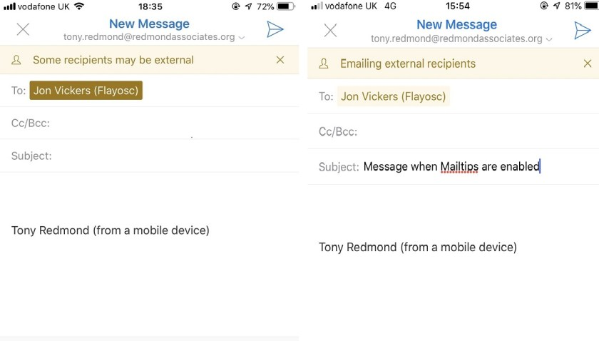 Outlook for iOS shows different warnings when MailTips are enabled or not