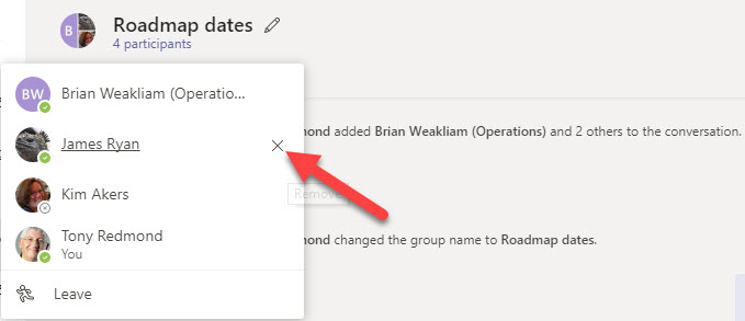 Teams Can Now Remove Users from a Group Chat - Office 365
