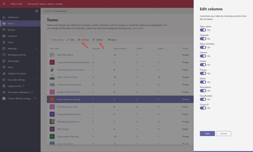 The column set now available in the Teams Admin Center