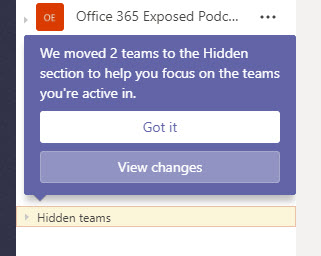 Teams detects some inactive teams and moves them out of sight