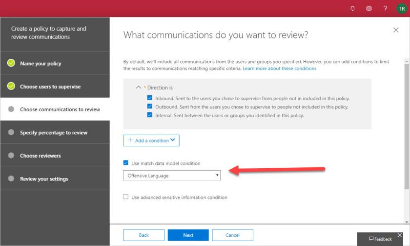 Adding the Offensive Language data model to an Office 365 supervision policy