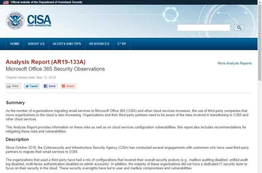 CISA Report AR19-133A