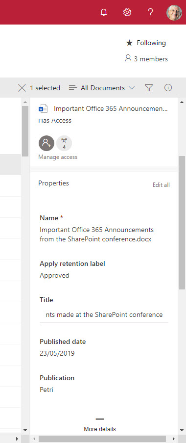 Editing properties for a SharePoint Online document