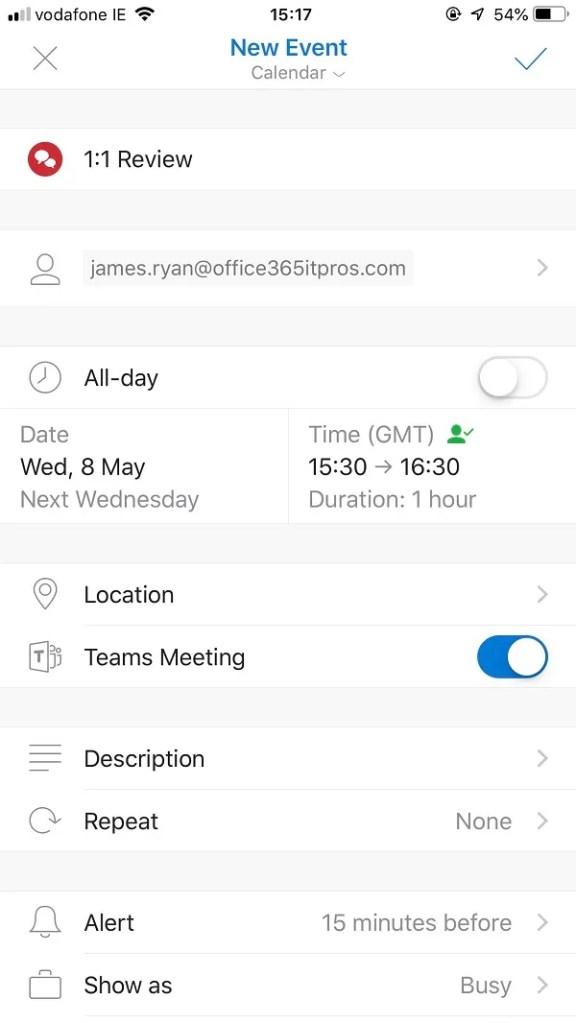 Outlook Mobile Creates Teams Meetings