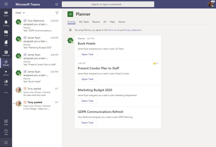 Planner Notifications in Teams