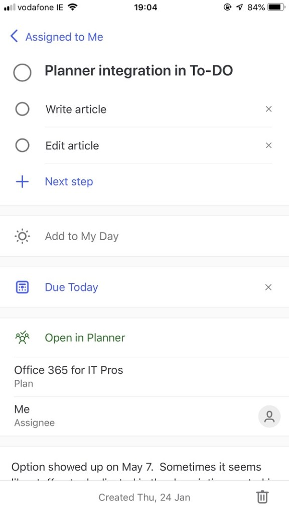 Working with a Planner task in To-Do for iOS